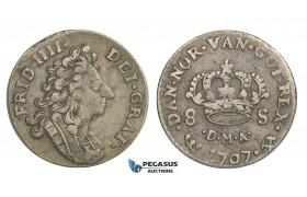 D35, Norway, Frederik IV, 8 Skilling 1707-DMA, Silver (2.38g) NM 28, Nice!