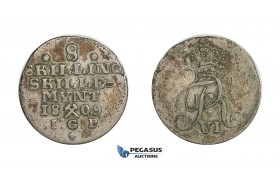 D41, Norway, Frederik VI, 8 Skilling 1809-IGP, Silver (2.25g) NM 1