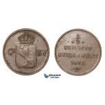D54, Norway, Carl XV, 1/2 Skilling 1863, Copper, NM 23