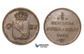 D54, Norway, Carl XV, 1/2 Skilling 1863, Copper, NM 23