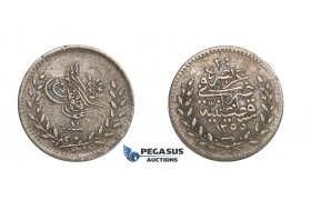 D67, Turkey, Ottoman Empire, Abdülmecid, 20 Para AH1255/10, Silver