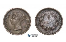 E07, Straits Settlements, Victoria, 1/4 Cent 1845, Nice!
