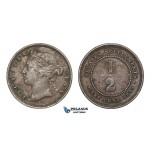 E10, Straits Settlements, Victoria, 1/2 Cent 1872-H