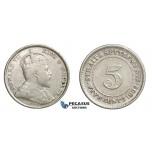 E15, Straits Settlements, Edward VII, 5 Cents 1902, Silver