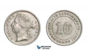 E19, Straits Settlements, Victoria, 10 Cents 1896, Silver, Nice!