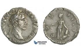 E56, Roman Empire, Antoninus Pius (138-161 AD) AR Denarius (3.27g) Rome, Struck 155 AD, Annona