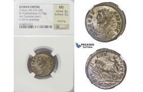 E58, Roman Empire, Probus (276-282 AD) BL Aurelianus (3.70g) Consular bust / Quadriga, NGC MS