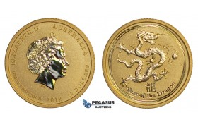 E61, Australia GOLD Lunar Dragon Proof 15 Dollar 1/10 Oz.999 Gold (Encapsulated)