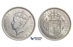 E63, Southern Rhodesia (Zimbabwe) George VI, Half Crown, Silver, High Grade!