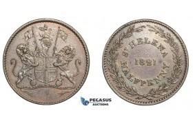 E65, Saint Helena (British East India Company) Half Penny 1821 RARE & Nice (Graffiti)