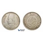 E66, Egypt, Farouk, 10 Piastres 1938, Silver, High Grade