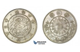 E68, Japan, Meiji, 50 Sen Yr. 3 (1870) Silver, Cleaned!