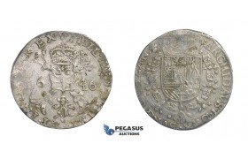E69, Belgium, Flandern, Philip IV, Patagon 1646, Bruges, Silver
