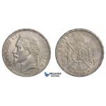 E70, France, Napoleon III, 5 Francs 1869-BB, Silver, Toned High Grade!