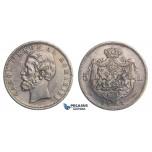 E77, Romania, Carol I, 5 Lei 1881, Silver (5 Stars edge) Toned, Very Nice!