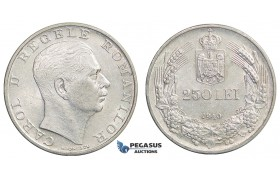E78, Romania, Carol II, 250 Lei 1940, Silver, High Grade (Cleaned)