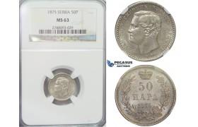 E83, Serbia, Milan I. Obrenovic, 50 Para 1875, Silver, NGC MS63 (Pop 1/5)