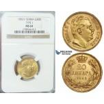 E84, Serbia, Milan I. Obrenovic, 20 Dinara 1882-V (Type I) Gold, NGC MS64 (Pop 1, no better)