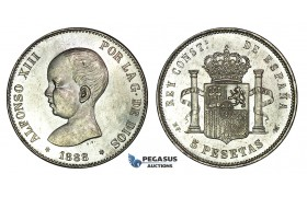 E85, Spain, Alfonso XIII, 5 Pesetas 1888 (88) MP/M, Silver, Top Grade (Minor bag marks)