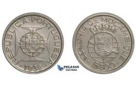 E87, Mozambique (Portuguese) 5 Escudos 1938, Silver, Top Grade!