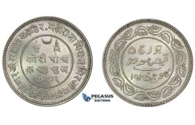 E92, India, Kutch, 5 Kori 1935, Silver, Top Grade!