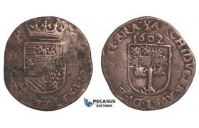 E97, Belgium, Brabant, Albert & Isabella, Liard 1602, Copper (3.94g) Rare! Minor Corrosion