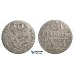 F08, Norway, Frederik IV, 12 Skilling 1721-HCM, Silver (3.57g) NM 16
