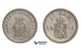 F12, Norway, Oscar II, 10 Øre 1903, Silver, NM 95, Nice