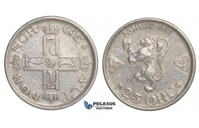 F14, Norway, Haakon VII, 25 Øre 1912, Silver, NM 78, Rare!