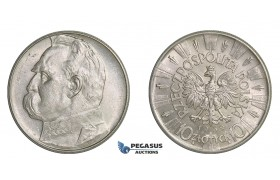 F18, Poland, 10 Zlotych 1939 (Pilsudski) Silver, TOP Grade (Minor hairlines)