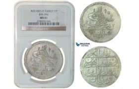 F77, Ottoman Empire, Turkey, Abdül Hamid I, Piastre AH1187/2, Qustantiniya, Silver, NGC MS61