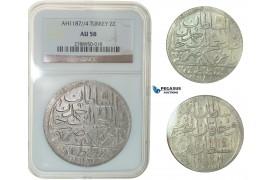 F80, Ottoman Empire, Turkey, Abdül Hamid I, 2 Zolota AH1187/4, Qustantiniya, NGC AU58
