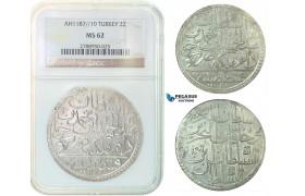 F82, Ottoman Empire, Turkey, Abdül Hamid I, 2 Zolota AH1187/10, Qustantiniya, NGC MS62