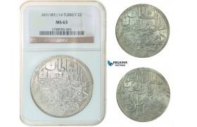 F83, Ottoman Empire, Turkey, Abdül Hamid I, 2 Zolota AH1187/14, Qustantiniya, NGC MS63
