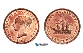 F89, Canada, New Brunswick, Victoria, 1/2 Penny Token 1854, Copper, High Grade (Cleaned)
