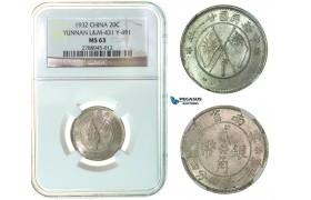 F94, China, Yunnan, 20 Cents 1932, Silver, NGC MS63
