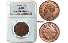 F98, Italy, Vittorio Emanuele II, 10 Centesimi 1862-M, Milan, NGC MS65RB