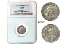 G04, Romania, Carol I, 50 Bani 1901, Hamburg, Silver, NGC AU58