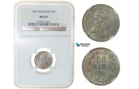 G05, Romania, Carol I, 50 Bani 1901, Hamburg, Silver, NGC MS64 Very RARE Grade!