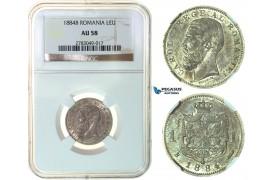 G06, Romania, Carol I, 1 Leu 1884, Silver, NGC AU58