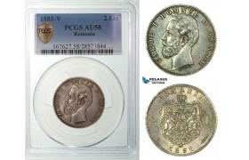 G07, Romania, Carol I, 2 lei 1881-V, Vienna, Silver, PCGS AU58