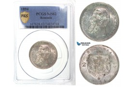 G33, Romania, Carol I, 2 Lei 1894, Brussels, Silver, PCGS Secure MS62, Rare Grade!
