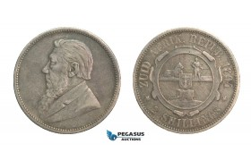 G36, South Africa (ZAR) 2 Shilling 1894, Silver, Nice & Uncleaned!
