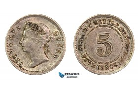 G38, Straits Settlements, Victoria, 5 Cents 1898, Silver, High Grade, Good Lustre!