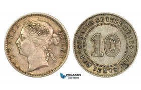 G40, Straits Settlements, Victoria, 10 Cents 1900, Silver, High Grade!