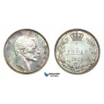 G41, Serbia, Petar I, Dinar 1904, Silver, Toned TOP Grade!