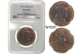 G59, France, 3rd Republic, 10 Centimes 1904, NGC MS65RB