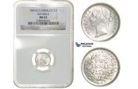 G70, East India Company, Victoria, 2 Annas 1841-C, Calcutta, Silver, NGC MS63