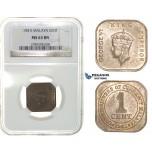 G76, Malaya, George VI, 1 Cent 1941-I, NGC MS63BN