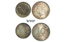 G80, Malaya, George VI, 5 & 10 Cents 1941, Silver, Both in Br. UNC with Rainbow toning!